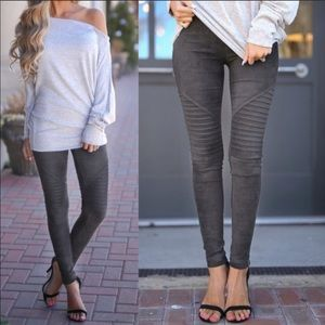 Gray Moto Suede Leggings